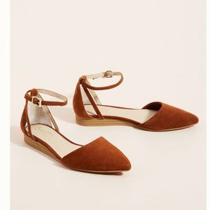 Anthro Seychelles Pointed Toe Ankle Strap Flat 8